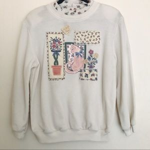 Vintage creme kitty / cat / Floral sweater